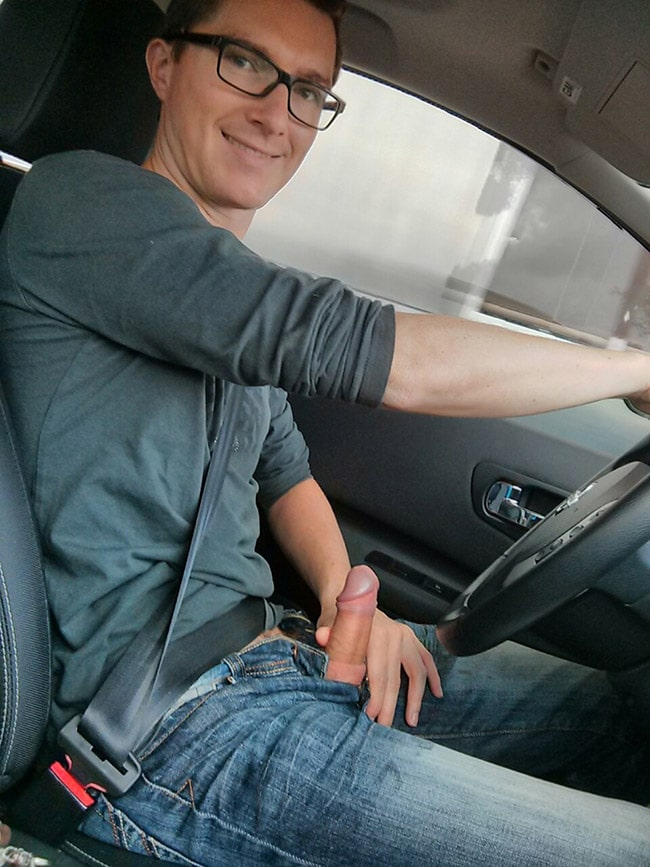 Erect Cock In The Car