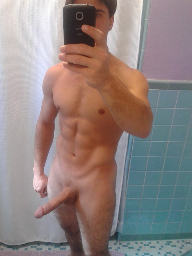 Strong Guy Showing His Smooth Penis - Nude Man Cocks