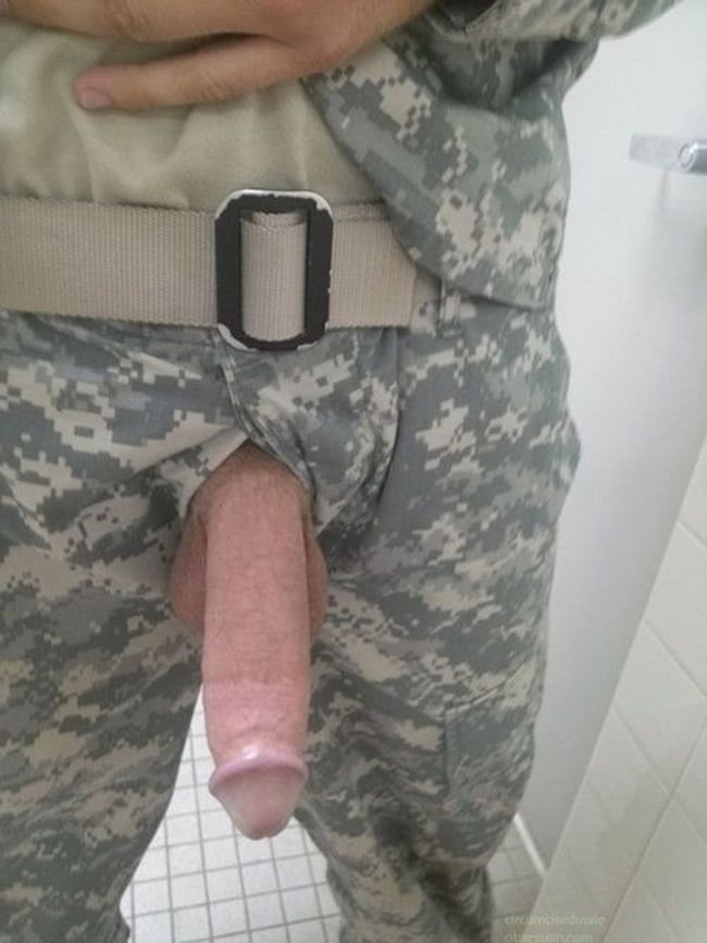 Military Dude Pulled His Hung Cock Out - Nude Man Cocks