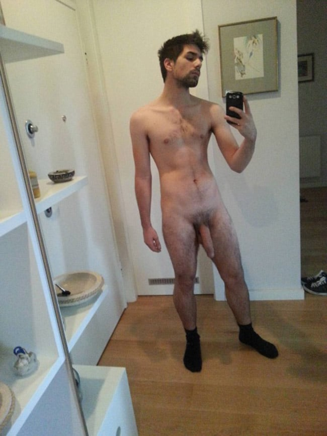 Hairy Dude In Socks Got A Hanging Dick - Nude Man Cocks