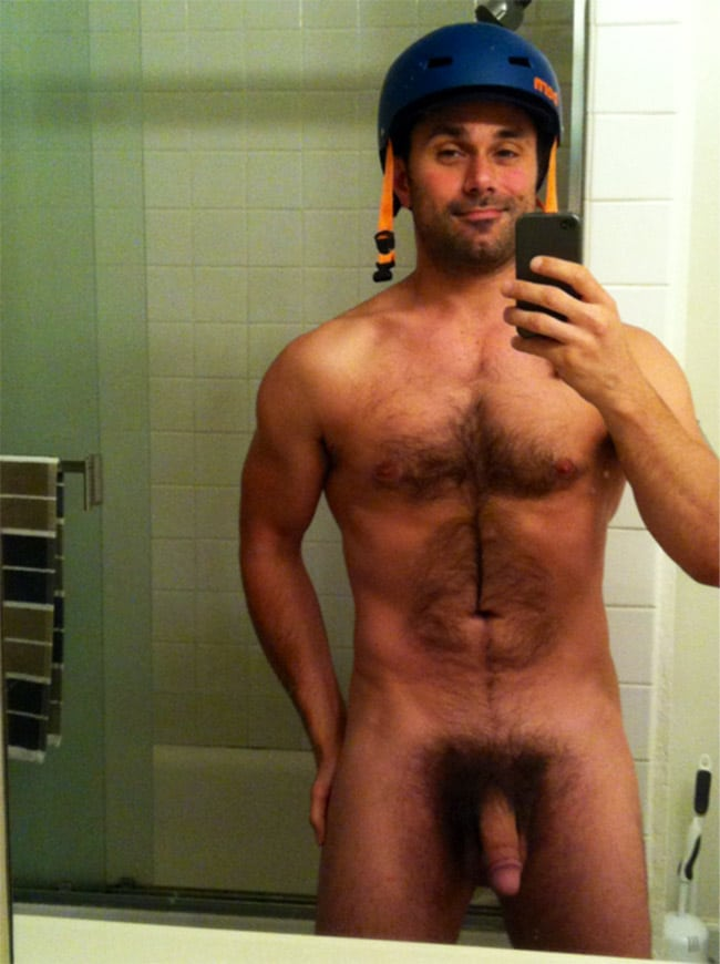 Hairy Dude With A Helmet Shows Dick - Nude Man Cocks